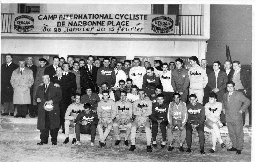 The 1960 Rapha team training camp, Rudi Altig front row centre.
